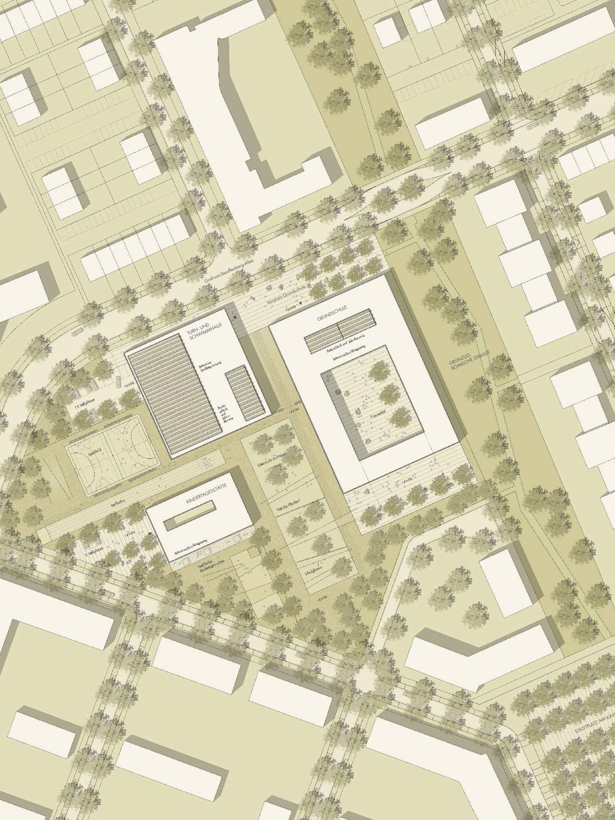 Lageplan-Neubau-Grundschule-mit-Zweifeld-Schulturnhalle-Schulschwimmanlage-und-Kindertagesstätte-Passivhausbauweise-Wettbewerb-2.Preis-2009-Friedrich-Poerschke-Zwink-Architekten