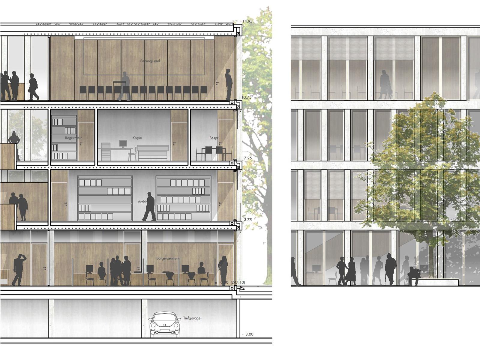 Detail-Wettbewerb-Rathaus Altbach-Anerkennung-2016-© Friedrich-Poerschke-Zwink-Architekten