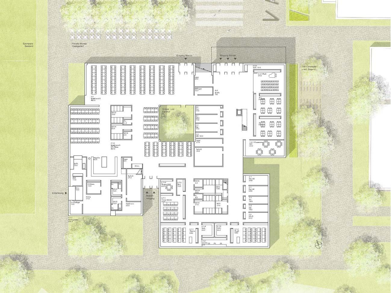 Erdgeschoss_Neubau Robert-Boehringer-Gemeinschaftsschule-Winnenden-1.Preis-Wettbewerb.2015_© Friedrich-Poerschke-Zwink-Architekten