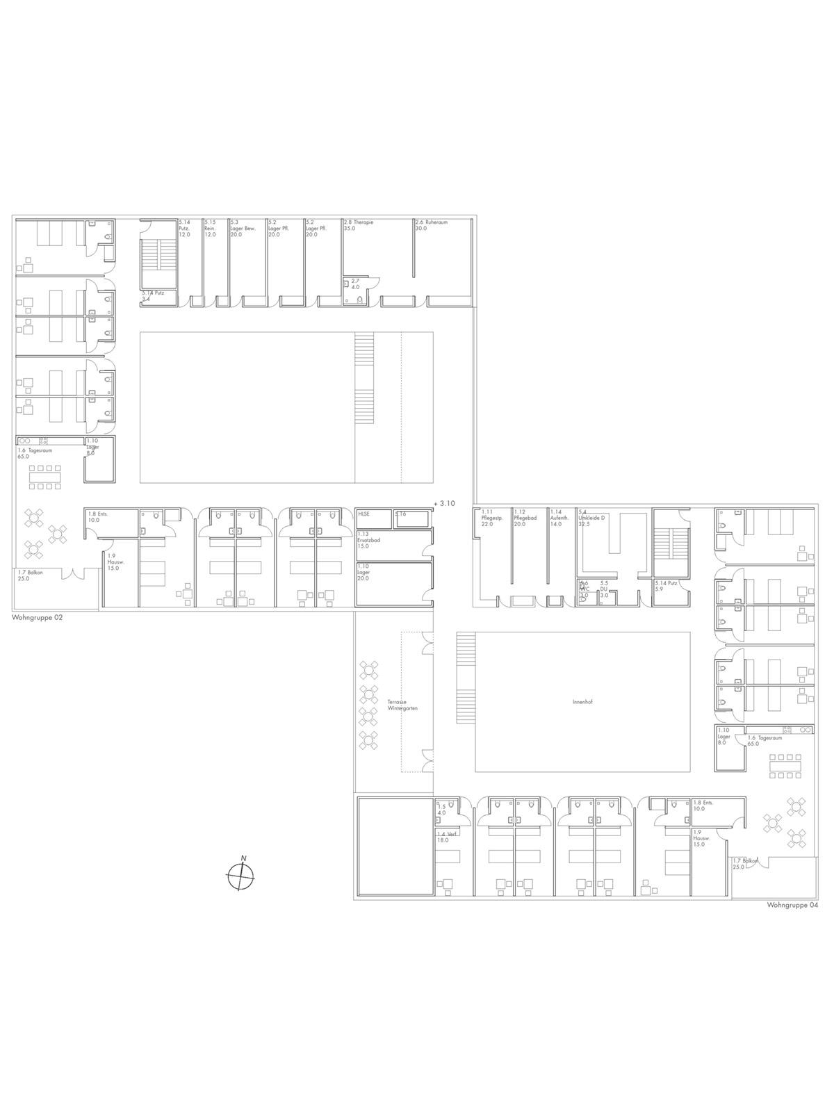 Grundriss-Wettbewerb-Neubau-Seniorenzentrum-Gundelsheim-2.Preis-2010-© Friedrich-Poerschke-Zwink-Architekten