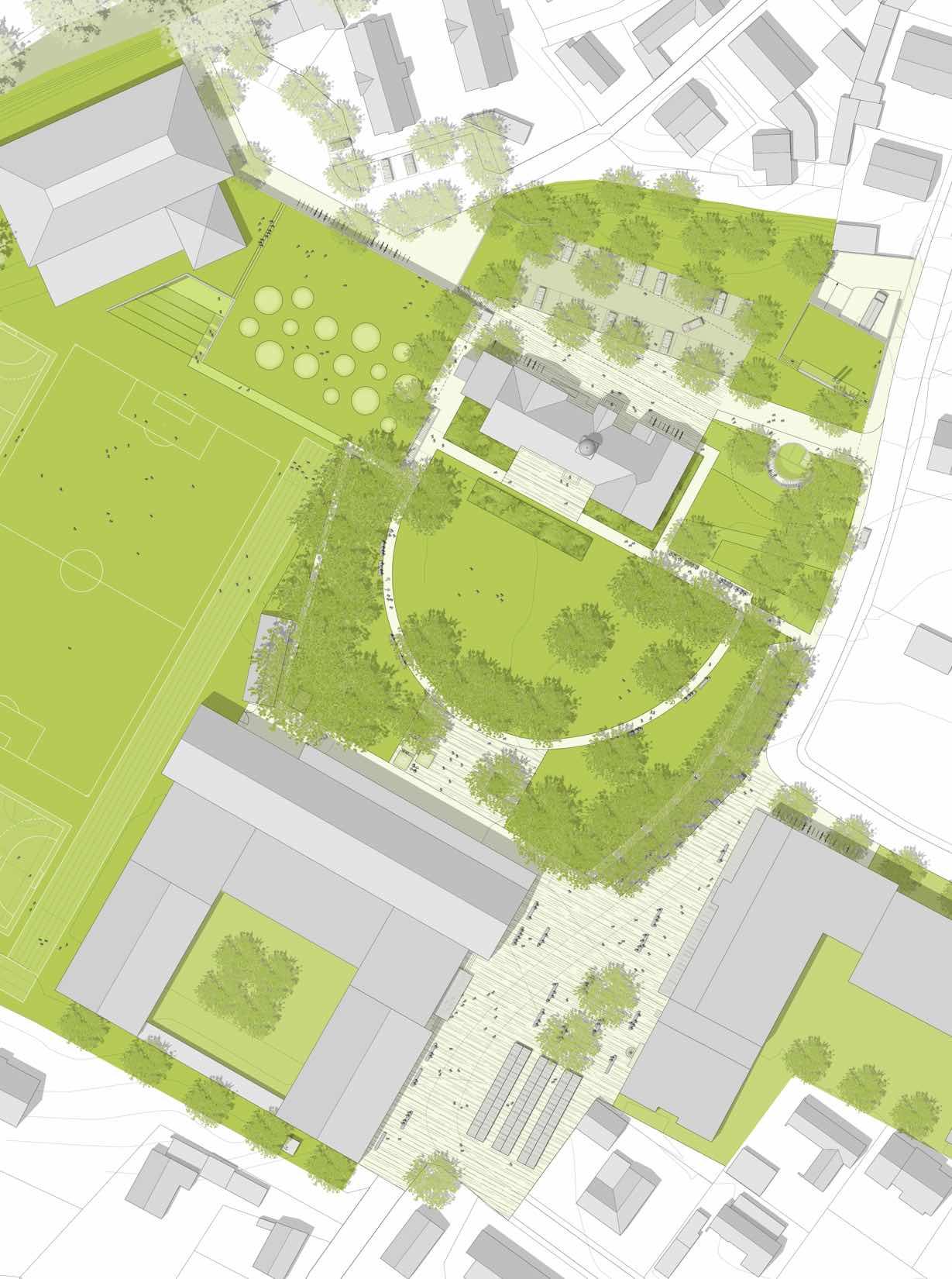 Lageplan-Wettbewerb-Sporthalle-Pardeck-Tiefgarage und Heizzentrale Miesbach-Engere-Wahl-2010-© Friedrich-Poerschke-Zwink-Architekten
