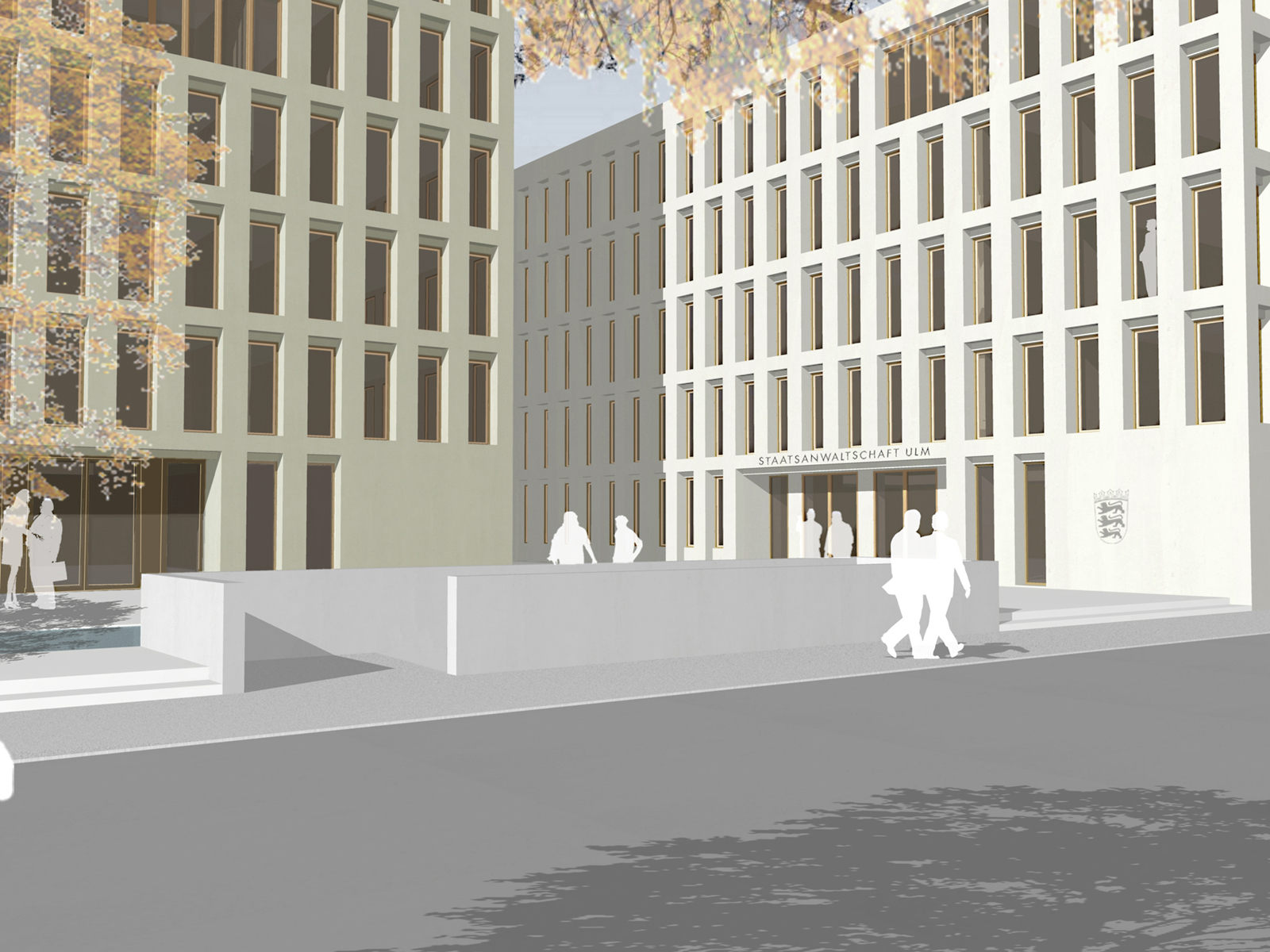 Perspektive-Justizplatz-Ulm-Wettbewerb-Neubau-Staatanwaltschaft-Ulm-3.Preis-2010-© Friedrich-Poerschke-Zwink-Architekten
