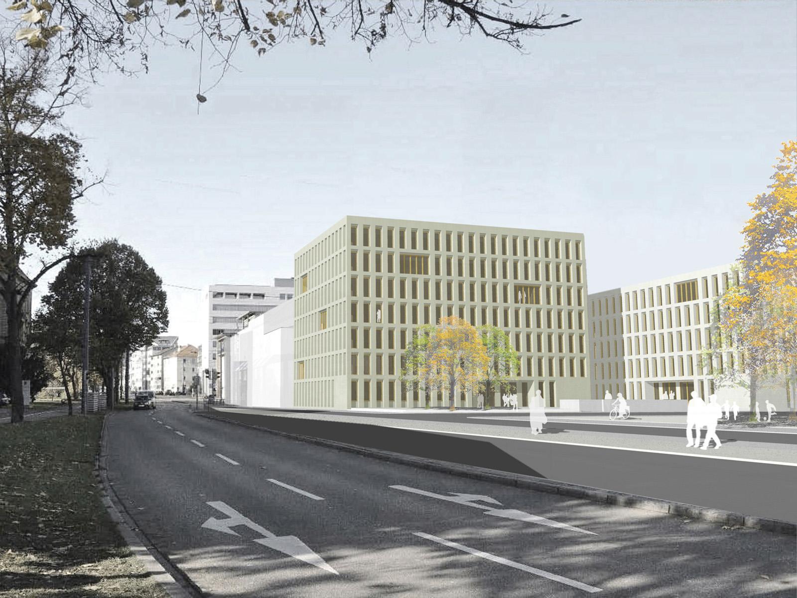 Perspektive-Olagstrasse-Ulm-Wettbewerb-Neubau-Staatanwaltschaft-Ulm-3.Preis-2010-© Friedrich-Poerschke-Zwink-Architekten