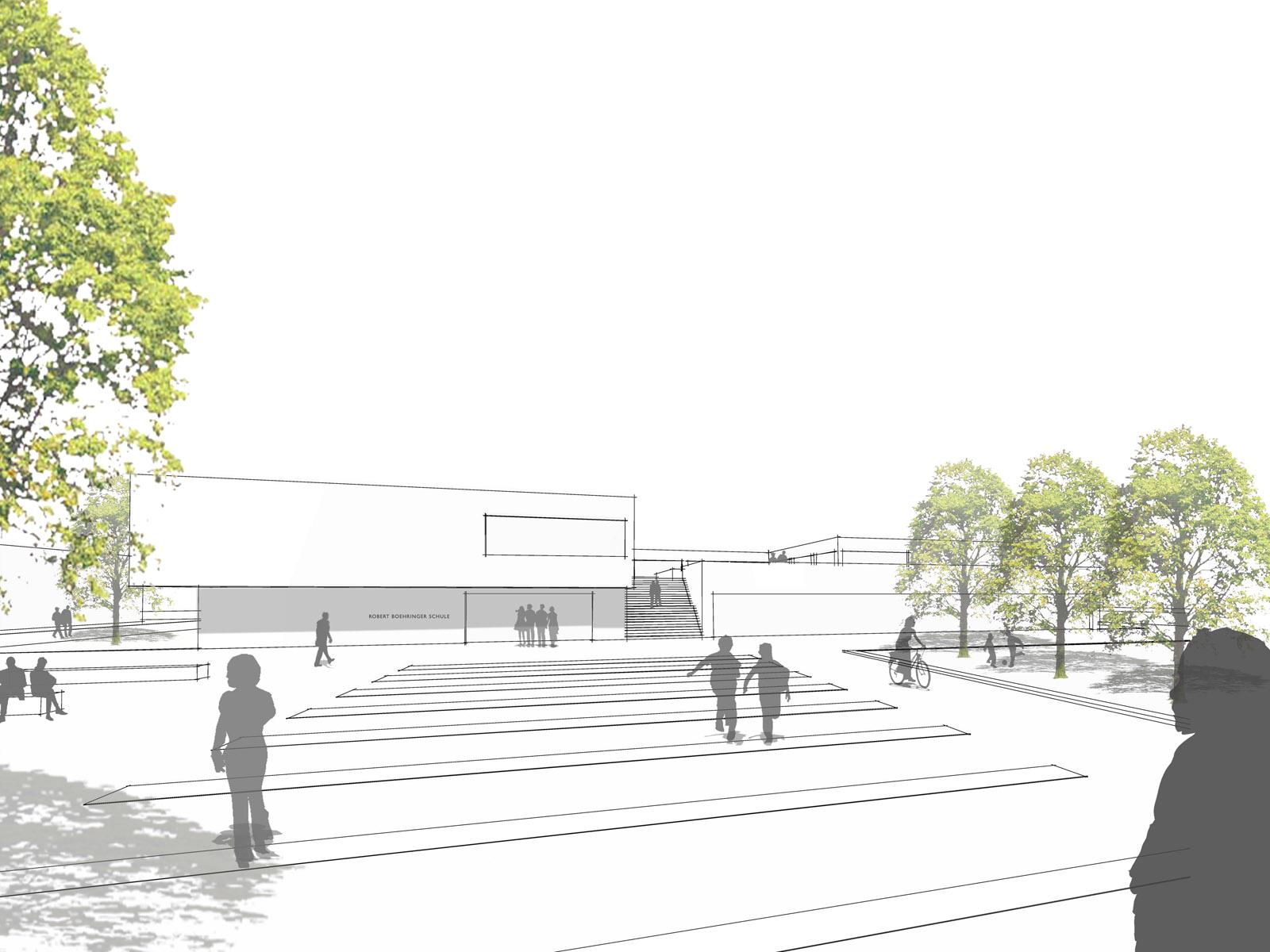 Perspektive-Schulhof_Neubau Robert-Boehringer-Gemeinschaftsschule-Winnenden-1.Preis-Wettbewerb.2015_© Friedrich-Poerschke-Zwink-Architekten