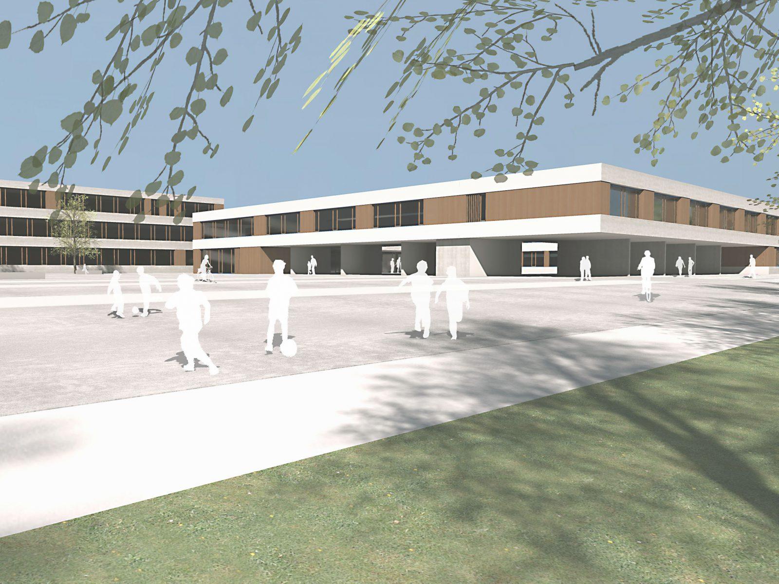 Perspektive-Wettbewerb-Fritz-Beck-Mittelschule_Landsberg-am-Lech-Anerkennung-2013-© Friedrich-Poerschke-Zwink-Architekten