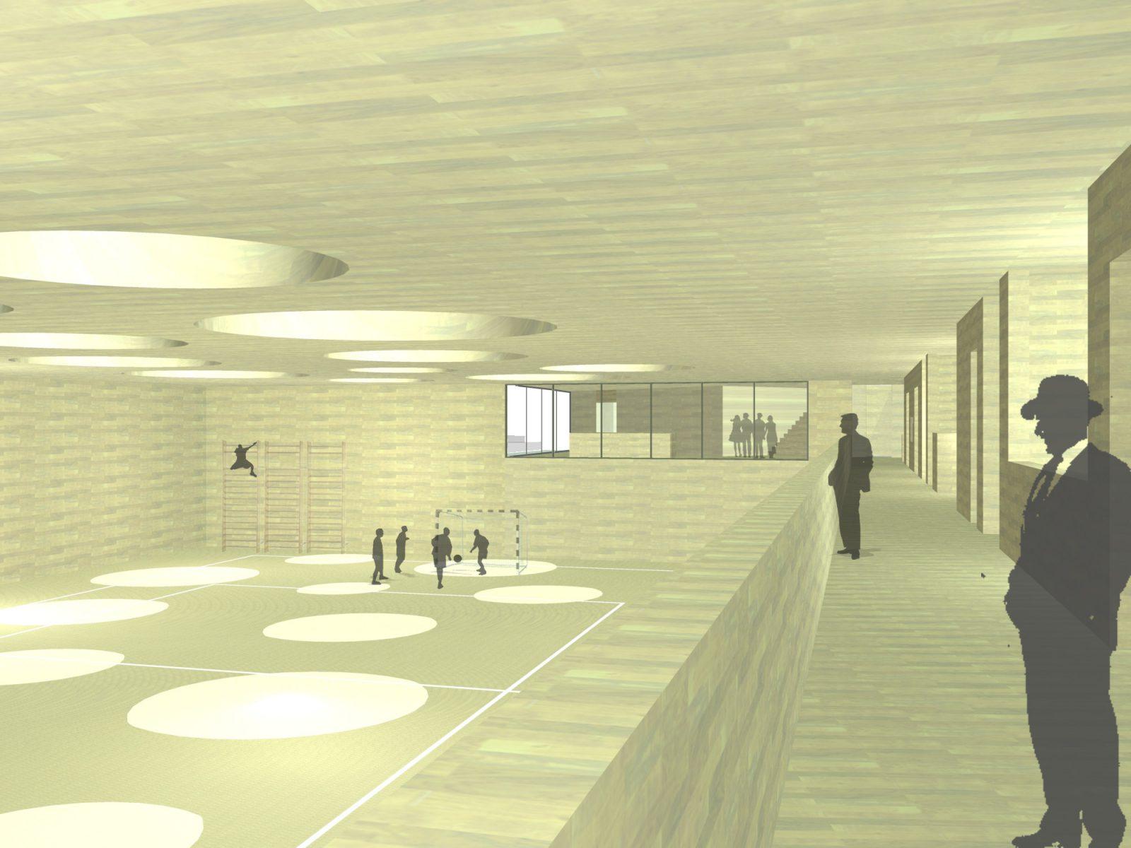 Perspektive-Wettbewerb-Sporthalle-Pardeck-Tiefgarage und Heizzentrale Miesbach-Engere-Wahl-2010-© Friedrich-Poerschke-Zwink-Architekten