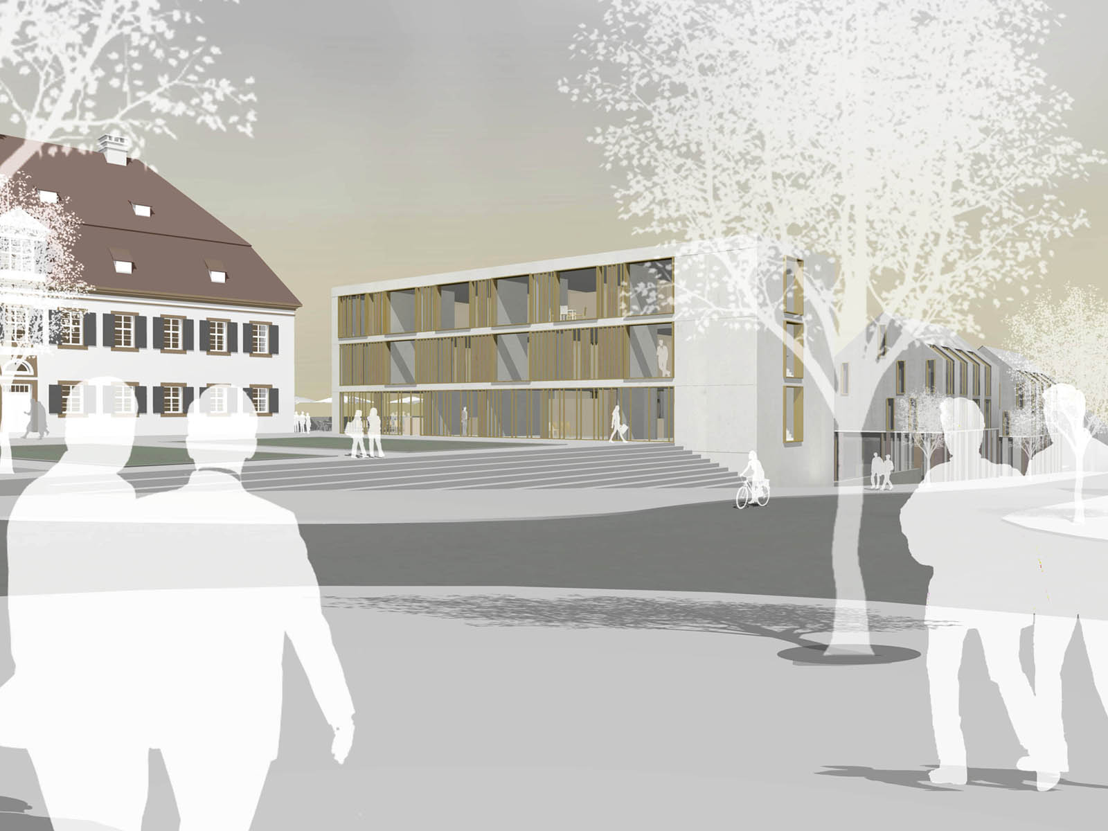 Schlossplatz-Dorfmarkt und Rathausmarkt in Rechberghausen Wettbewerb-2009-3.Preis-© Friedrich-Poerschke-Zwink-Architekten