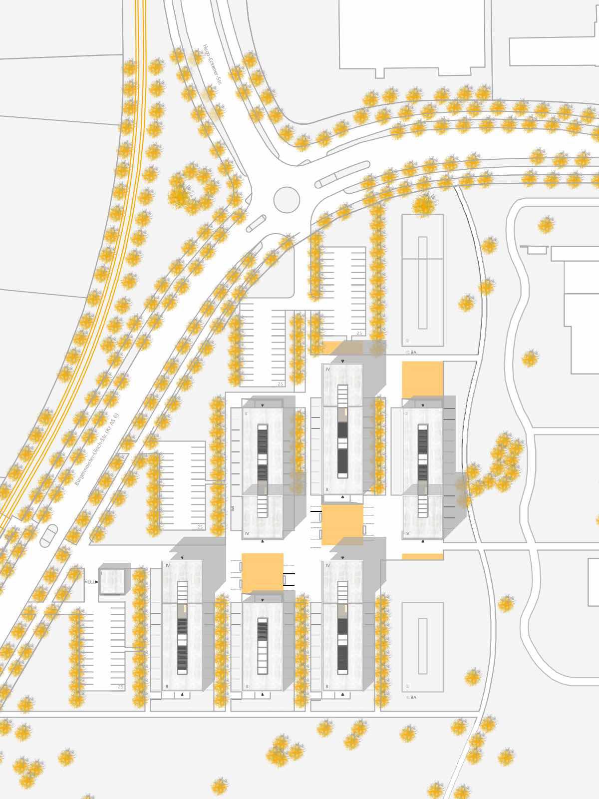 Lageplan-Neubau eines Studentenwohnheims in Augsburg-Wettbewerb-2009-5.Preis-© Friedrich-Poerschke-Zwink-Architekten
