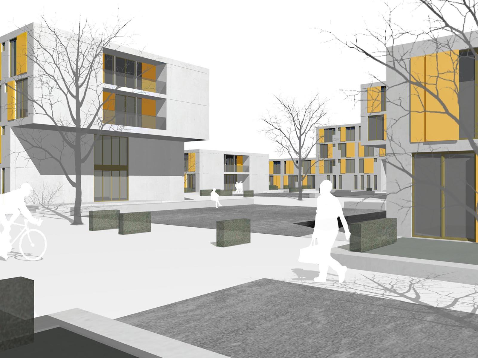 Perspektive-Neubau eines Studentenwohnheims in Augsburg-Wettbewerb-2009-5.Preis-© Friedrich-Poerschke-Zwink-Architekten