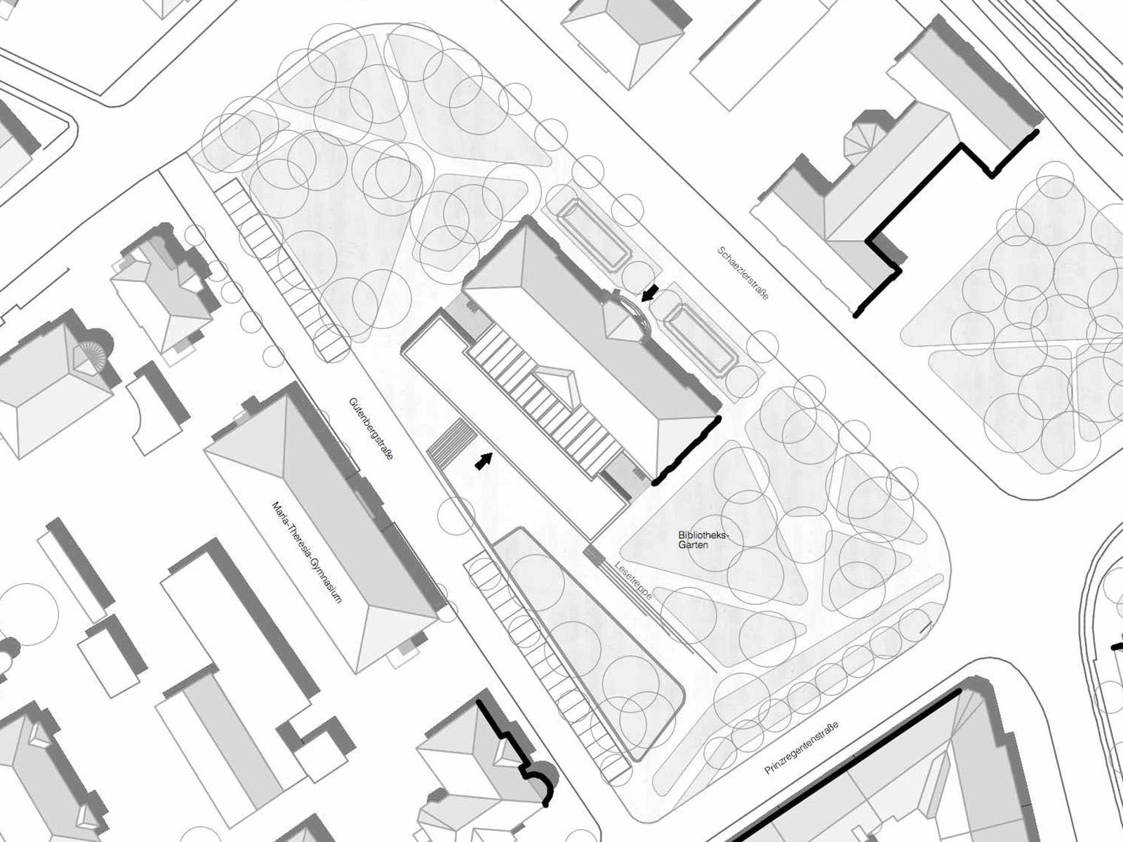 lageplan-staats-und-stadtbilblothek-augsburg-wettbewerb-2016-2-preis-friedrich-poerschke-zwink-architekten-stadtplaner-mit-kleinsaenger-architekten