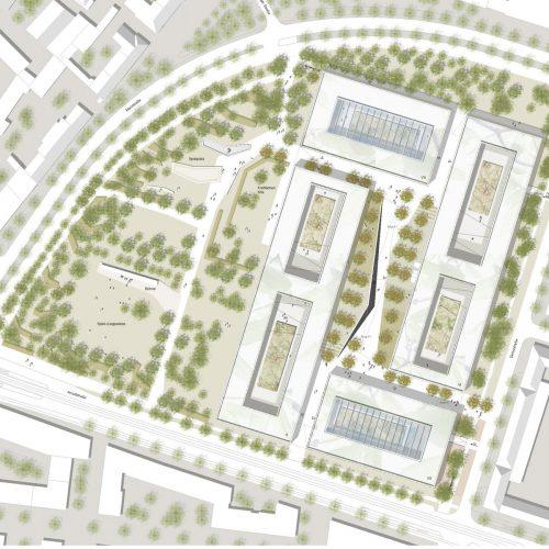 Lageplan_Wettbewerb Steuerverwaltung in Muenchen-Wettbewerb-2.Preis-2008 Friedrich Poerschke Zwink Architekten