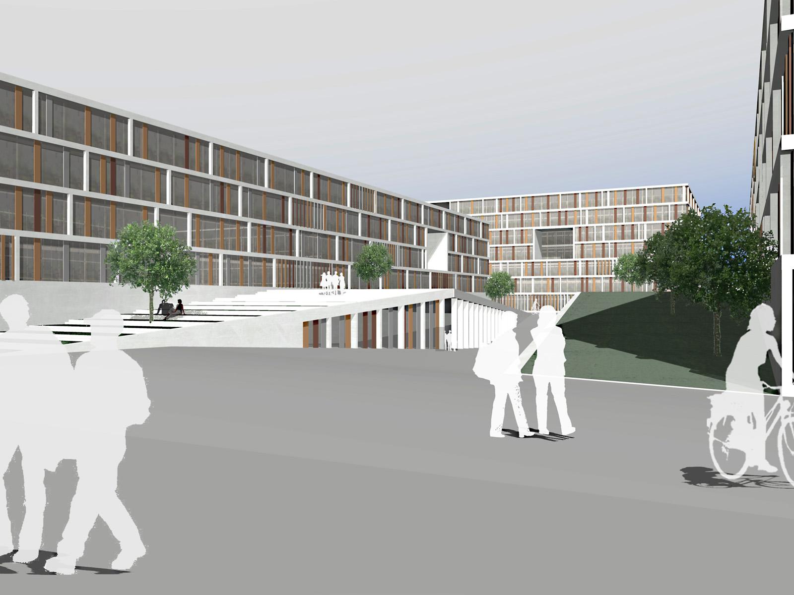 Perspektive Wettbewerb Steuerverwaltung in Muenchen-Wettbewerb-2.Preis-2008 Friedrich Poerschke Zwink Architekten